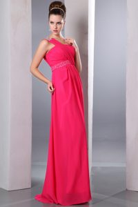 Hot Pink One Shoulder Long Ruched Party Dama Dress with Beading