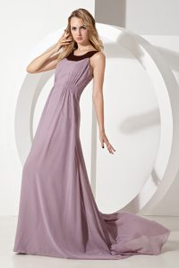 Scoop Straps Brush Train Dark Pink Ruched Bridesmaid Dama Dress on Sale