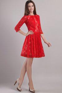 Bateau 3/4 Sleeves Mini-length Red Lace Bridesmaid Dama Dress for Cheap