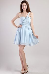 One Shoulder Mini-length Baby Blue Ruched Flounced Cocktail Dama Dress