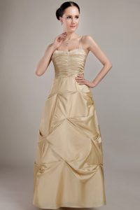 Spaghetti Straps Champagne Ruched Dama Dress with Beading and Pick-ups