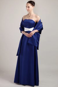 Strapless Long Royal Blue Dama Dresses with Shawl and White Sash