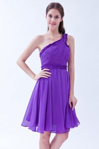 One Shoulder Knee-length Purple Ruched Chiffon Cocktail Dress for Dama