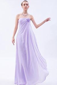 Lilac Strapless Long Ruched Chiffon Party Dama Dresses with Flower