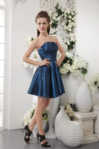 Navy Blue Shell Neckline Mini-length Ruched Cocktail Dama Dresses
