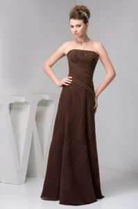 Brown Strapless Long Chiffon Prom Dress for Dama with Appliques