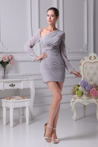 Long Sleeves Asymmetrical Shoulder Mini-length Ruched Gray Dama Dresses