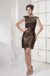 Bateau Straps Mini-length Special Printed Ruched Dama Dress with Beading