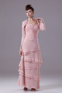 Sweetheart Ankle-length Baby Pink Layered Ruched Dama Dress with Jacket