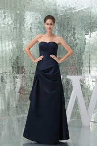 Sweetheart Long Navy Blue Ruched Drapped Dama Dress for Quince