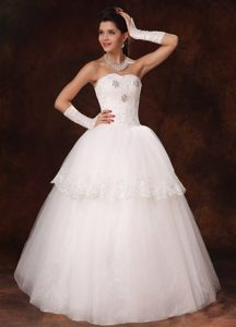 Strapless Long Ball Gown Layered Tulle Wedding Dress with Appliques