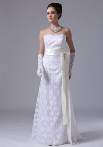 Strapless Long Lace Wedding Dresses with Light Yellow Sash