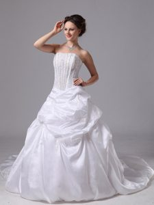 2014 Strapless Court Train Wedding Dress with Pick-ups and Beading