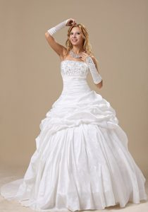 Strapless Court Train Wedding Gown Dress with Beading and Pick-ups