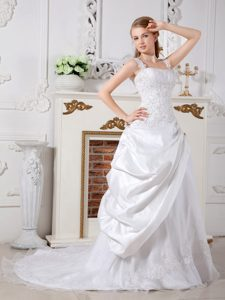 Square Straps Court Train Ruched Wedding Dress with Pick-ups and Applique