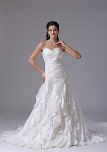 Sweetheart Court Train Ruched Wedding Dress with Layered Ruffles