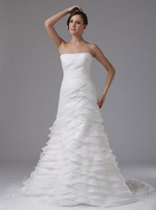 Strapless Court Train Ruched Organza Wedding Dress with Layers for Cheap