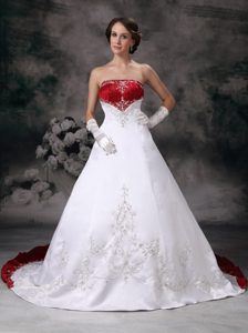 Red and White Strapless Court Train Wedding Dress with Embroidery