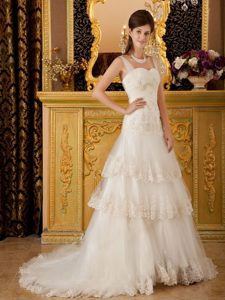 Champagne Straps Brush Train Tulle Layered Wedding Dresses with Appliques