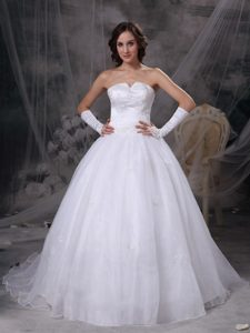 Slot Neckline Court Train Organza Wedding Gowns with Appliques for Cheap