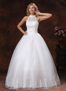 Brand New High-neck Long Organza Wedding Gowns with Appliques