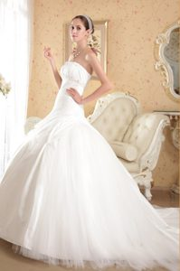 Ruched Strapless Court Train Tulle Wedding Dress with Beading on Promotion