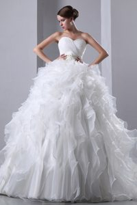 Ruched Sweetheart Court Train Wedding Dress with Ruffles and Beaded Waist