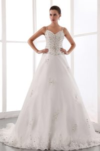 Spaghetti Straps Court Train Organza Wedding Dress with Beading for Cheap