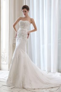 Strapless Court Train Mermaid Satin Wedding Dress with Appliques and Belt