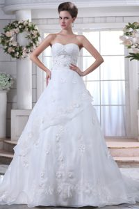 Sweetheart Court Train Layered Organza Ruched Wedding Dress with Appliques