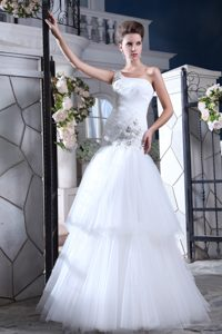 One Shoulder Long Ruched Wedding Dress with Appliques and Ruffles