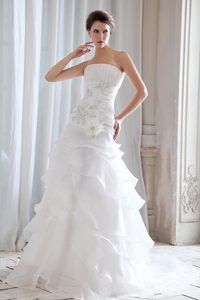 Strapless Brush Train Ruched Ruffled Wedding Dress with Beading and Flower