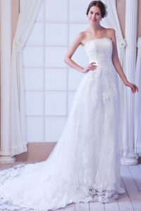 Court Train Strapless Lace Wedding Dress with Appliques for Cheap
