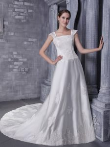 Brand New Square Straps Court Train Wedding Dress with Appliques
