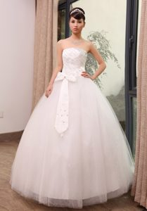 Lovely Strapless Tulle Bridal Dress with Beading and Bowknot Best Seller