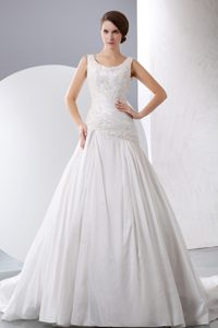 New A-line Scoop Chapel Train Appliqued Designer Bridal Dresses in Taffeta