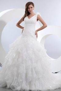 Pretty A-line V-neck Ruffled Dress for Bride in and Organza on Sale