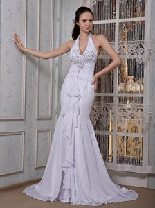Customize Mermaid Halter Designer Bridal Dresses with Beading