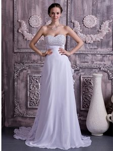 Brand New Empire Sweetheart Chiffon Designer Bridal Dress with Beading