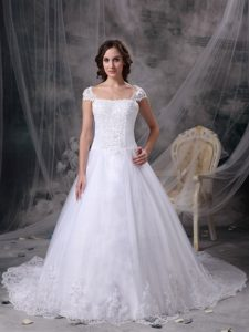 2013 White A-line Square Satin Lace Designer Bridal Dress with Cap Sleeves