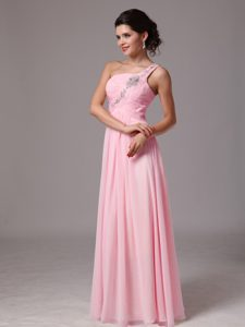Baby Pink One Shoulder Long Ruched Evening Dress with Appliques