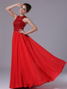 Chiffon Empire Red Cheap Evening Dresses for Women with High-neck