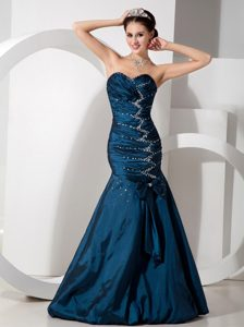 Navy Blue Mermaid Lovely Sweetheart Evening Wear Dress with Beading