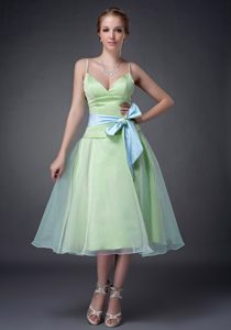 Yellow Green A-line Straps Nice Women Evening Dresses with Bowknot