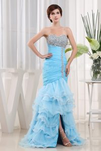 Affordable Aqua Blue Beaded Evening Wear Dresses with Ruffled Layers