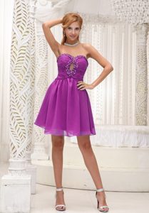 Fuchsia Chiffon Cute Women Evening Dresses with Beading and Ruching