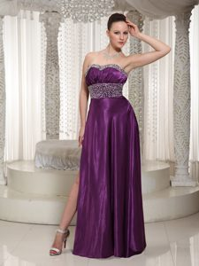 Eggplant Purple Discount Ladies Evening Dresses in Elastic Woven Satin