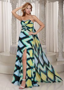 Discount Chiffon High Slit Watteau Train Evening Wear Dress with Printing