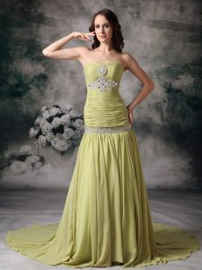 Sweet Yellow Green Mermaid Sweetheart Chiffon Evening Dress Patterns