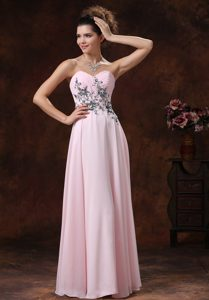 Cheap Sweetheart Baby Pink Women Evening Gown Dress with Appliques